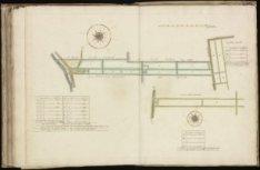 Kaart (rechtsboven genummerd) 70 van kaartboek C van het Burgerweeshuis met een …