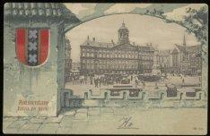 Dam met koninklijk paleis en rechts de Nieuwe Kerk. Uitgever: Jos Nuss