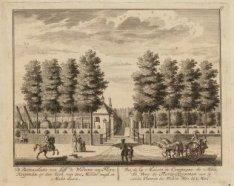 De Buitenplaets van Juffr. de Weduwe van Floris Koopman op den hoek van den Midd…