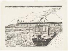 Schip in de Voorhaven van het Noordhollandsch Kanaal, gezien naar het IJ en de D…