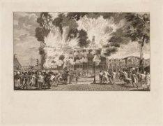 IJgracht, de latere Prins Hendrikkade met 's lands zeemagazijn tijdens de brand …
