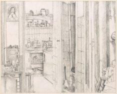 Interieur van Elandsgracht 3, drie hoog, de woning van Jan Kloos, gitarist van d…