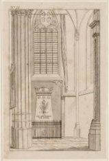 Interieur Nieuwe Kerk gezien naar het grafmonument van J.C.J. van Speyk. Technie…