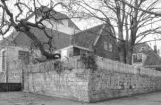 Amstelveld 2-12, Amstelkerk, achterzijde met schutting