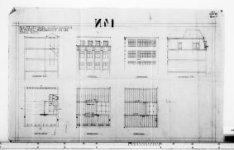 Ontwerptekeningen met aanzichten, plattegronden en doorsneden; nr. 9
