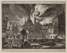 Afbeelding van den Brandt van ''t oude Stadhuys van Amsterdam, onder ''t gebruyk…