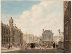 Gesigt van het Stadthuis, Nieuwe Kerk en Waag enz.enz. te Amsterdam