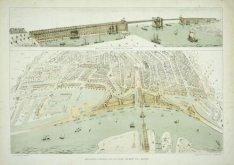 Brug over het IJ, ontwerp van J. Galman (afbeelding boven); Amsterdam uitgelegen…