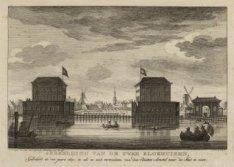Afbeelding van de twee Blokhuizen, Gebouwd in den jaare 1650, zo als ze zich ver…