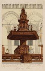 Het interieur van de Nieuwe Kerk met het vooraanzicht van de preekstoel