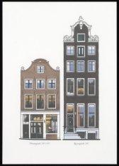 Kleurendruk naar geveltekeningen van Prinsengracht 345-347 en Keizersgracht 247