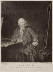 Portret van Jan Punt (1711-1779), tekenaar, prentkunstenaar, uitgever en toneels…