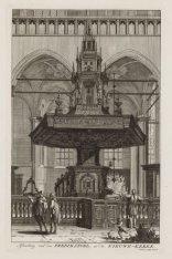 Afbeelding van den Predikstoel, in de Nieuwe-Kerke