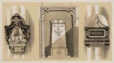Dam 12, Nieuwe Kerk. Een prent met drie afbeeldingen