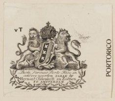 Vignet van tabakshandel Herman Oldenkott en Zoonen met het wapen van Amsterdam e…