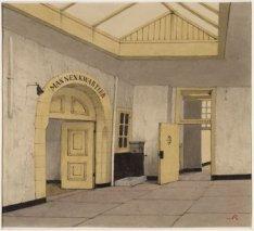 Het interieur van het Tucht- of Rasphuis, Heiligeweg 19. Het portaal met de toeg…