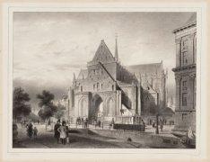 De ingang van de Nieuwe Kerk, Nieuwezijds Voorburgwal 143 met daarvoor de Donker…