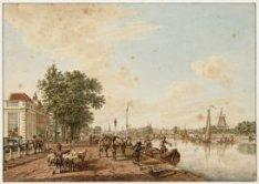 De Amsteldijk en Amstel, gezien in noordelijke richting naar de stad. Links, op …