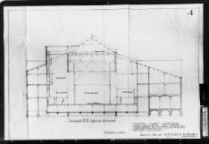 Verbouwing van theater Carré, Amstel 115-125. Ontwerp- en werktekening met dwars…