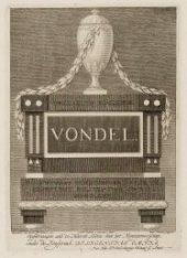 Dam 12, monument voor Joost van den Vondel in de Nieuwe Kerk. Techniek: gravure