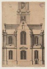Het exterieur van het koor van de Westerkerk, Prinsengracht 279-281. Techniek: g…