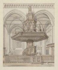 Het interieur van de Nieuwe Kerk met het vooraanzicht van preekstoel en doophek.…