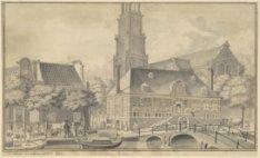 De Westerhal op de Westermarkt met op de achtergrond de Westerkerk. Tekening doo…