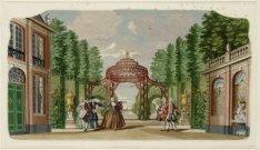 Interieur van de Schouwburg aan de Keizersgracht 384, met het decor van de Nieuw…