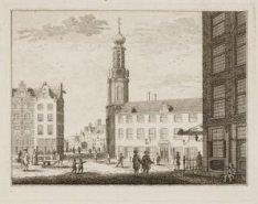 De Reguliers Tooren en de Munt te Amsterdam, van vooren uit de Kalverstraat te z…