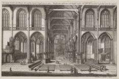 De Nieuwe Kerck, van binnen, ten westen, tegen ''t Orgel aan te zien