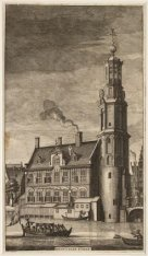 De Regulierstoren, later Munttoren aan het Muntplein gezien vanaf het Singel in …