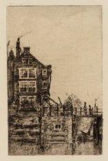 Martelaarsgracht, voor de demping in 1884, met de Oude Haarlemmersluis