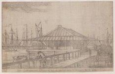Het Bot  Huisje te Amsterdam in het IJ voor de Nieuwe Brug 1769