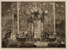 Het vuurwerkpaviljoen  in de Amstel ter ere van het bezoek van tsaar Peter de Gr…