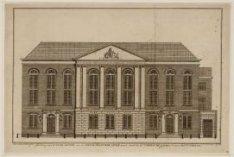 Voorgevel van de nieuw gebouwde kerk voor de herstelde Luthersche Gemeente