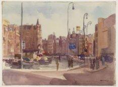 Het Rokin en links de Oude Turfmarkt 147-153, gezien vanaf de Langebrug naar de …