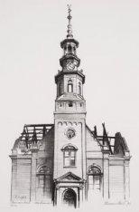 Muiderkerk, het aanzicht van de toren en de voorgevel na de brand van 2 november…