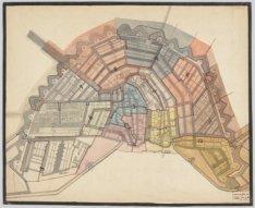 Manuscriptkaart van Amsterdam, met in kleur de twaalf cholerawijken met ieder ee…