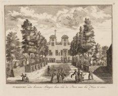 Overzicht, inde kromme Schager-laan van de Poort naar het Huys te sien