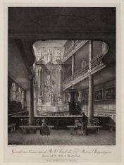 """Gezicht van binnen van de R.C. Kerk der E.E. Paters Augustijnen, Genaamd """"de Ste…"""