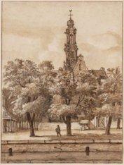 De Westerkerk gezien van de overzijde van de Keizersgracht