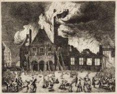 Afbeeldinge van het oude Stadthuys tot Amsterdam verbrant op den 6 Iuli 1652