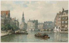 De Amstel gezien naar Schapenplein met Munttoren