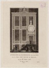 Afbeelding der illuminatie voor het huis van de Heer Jan Jacob de Bruyn op den 8…
