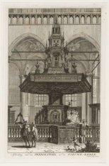 Afbeelding van een predikstoel, in de Nieuwe - Kerke