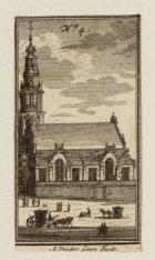 Verzamelblad van vier diverse prenten en een beschrijving van de Zuiderkerk
