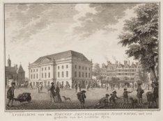 Afbeelding van den Nieuwen Amsterdamschen Schouwburg, met een gedeelte van het L…
