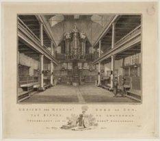 Gezicht der Mennonieten Kerk De Zon, van Binnen, te Amsterdam. Opgedragen aan de…