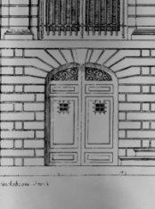 Singel 548, bouwtekening vooraanzicht, dubbele deur links, huis van Johan Huydec…