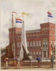 Het Zeemanshuis, Kadijksplein 17-18 met versiering ter gelegenheid van het 25-ja…